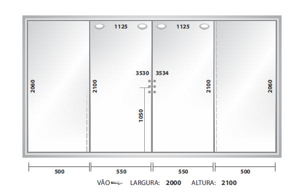 PORTA CORRER 2000X2100 (4 FOLHAS)